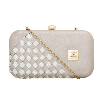 ESBEDA | ESBEDA Silver Color Glitter Shine Box Clutch For Women