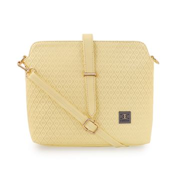 ESBEDA | ESBEDA Light Yellow Color Twill Emboss Sling Bag For Women