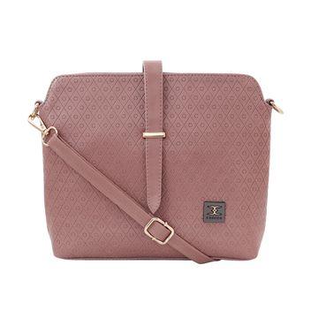 ESBEDA | ESBEDA Peach Color Twill Emboss Sling Bag For Women