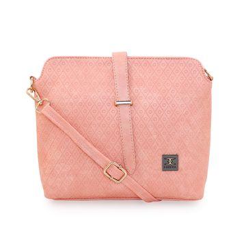 ESBEDA | ESBEDA Light Pink Color Twill Emboss Sling Bag For Women