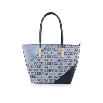 ESBEDA | ESBEDA Blue Color Logo Printed Basket Handbag For Women