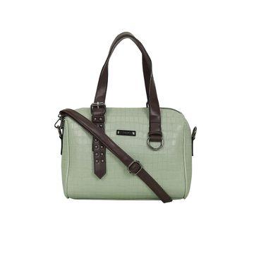 ESBEDA   ESBEDA Green Color Solid Mini Duffle Croco Handbag For Women
