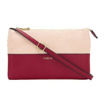 ESBEDA | ESBEDA Red Color Two sided Jute Sling bag For Women