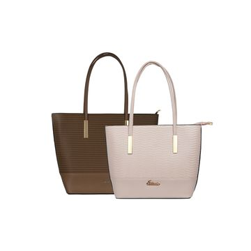 ESBEDA | ESBEDA Camel Colour Basketweave Combo Handbag For Women