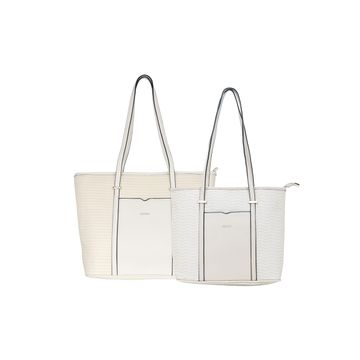 ESBEDA   ESBEDA Off-White Colour Basketweave Combo Handbag For Women