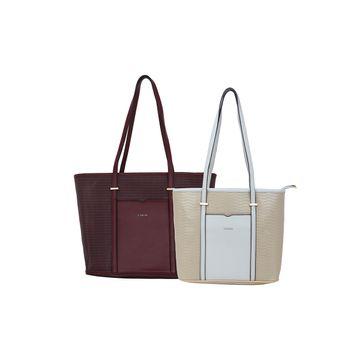 ESBEDA | ESBEDA Maroon Colour Basketweave Combo Handbag For Women