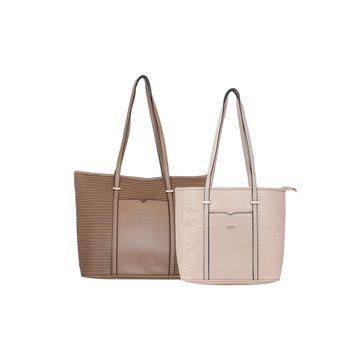 ESBEDA | ESBEDA Camel Colour Basketweave Combo Handbag For Women