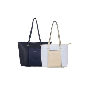 ESBEDA | ESBEDA Blue Colour Basketweave Combo Handbag For Women