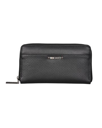 ESBEDA | ESBEDA Black Color Solid Pattern Texture Zip Around Wallet For Women