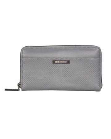 ESBEDA | ESBEDA Grey Color Solid Pattern Texture Zip Around Wallet For Women
