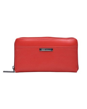 ESBEDA | ESBEDA Red Color Solid Pattern Texture Zip Around Wallet For Women