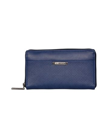 ESBEDA | ESBEDA Blue Color Solid Pattern Texture Zip Around Wallet For Women