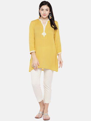 Ethnicity | Ethnicity Yellow Rayon Women Tunic