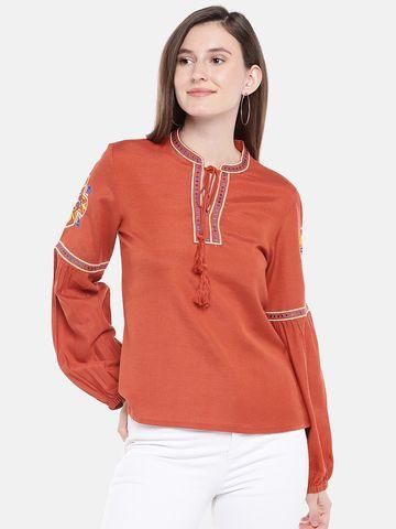 Ethnicity | Ethnicity Rust Rayon Flax Women Kurta
