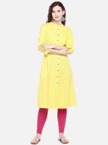Ethnicity | Ethnicity Yellow Cotton Flax Women Kurta