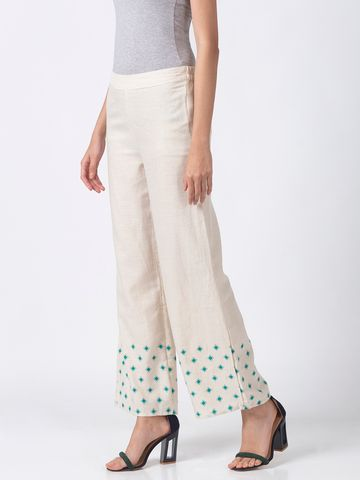 Ethnicity | Ethnicity Off White Cotton Flax Women Palazzos