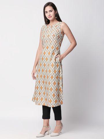 Ethnicity | Ethnicity Mustard Cotton Flax Women Kurta