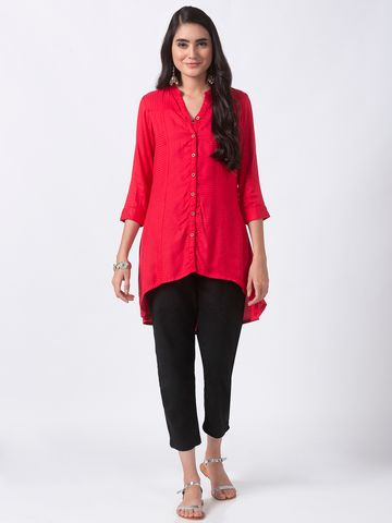 Ethnicity | Ethnicity Red Rayon Dobby Women Tunic