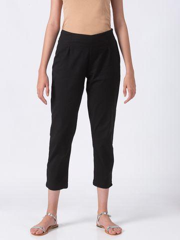 Ethnicity | Ethnicity Black Cotton Flex Women Pants