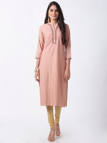 Ethnicity | Ethnicity Pink Chanderi Lurex Checks Women Kurta