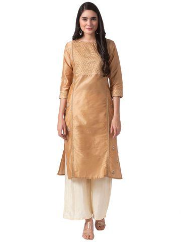 Ethnicity | Ethnicity Beige Polyester Women Kurta