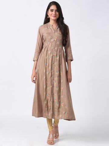 Ethnicity | Ethnicity Brown Chanderi Women Kurta