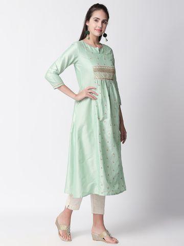 Ethnicity | Ethnicity Sap Green Polystaple Women Kurta