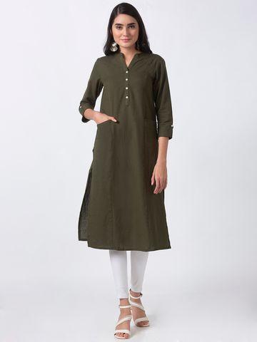 Ethnicity | Ethnicity Green Cotton Flax Women Kurta
