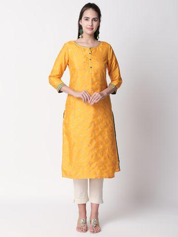 Ethnicity | Ethnicity Mustard Poly Silk Women Kurta