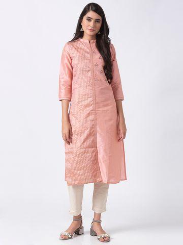 Ethnicity | Ethnicity Pink Poly Jacquard Women Kurta