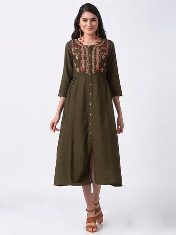 Ethnicity | Ethnicity Olive Rayon Flax Women Kurta