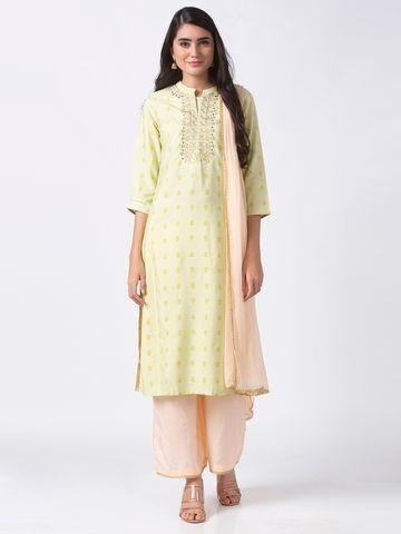Ethnicity | Ethnicity Green Chanderi Women Skd