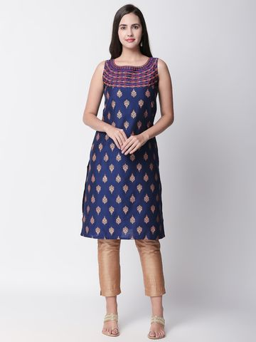 Ethnicity | Ethnicity Royal Blue Viscose Slub Women Kurta