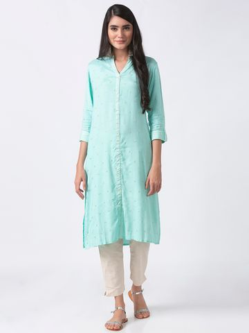 Ethnicity | Ethnicity Skyblue Viscose Shantoon Women Kurta