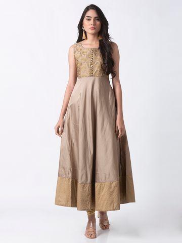 Ethnicity   Ethnicity Beige Tafetta Women Gown