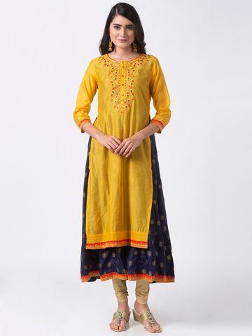 Ethnicity | Ethnicity Yellow Viscose Shantoon Women Kurta