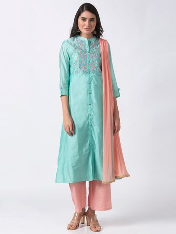 Ethnicity | Ethnicity Sea Green Chanderi Women Kurta Set
