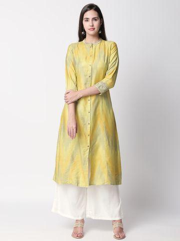 Ethnicity | Ethnicity Green Silk Ikat Women Kurta