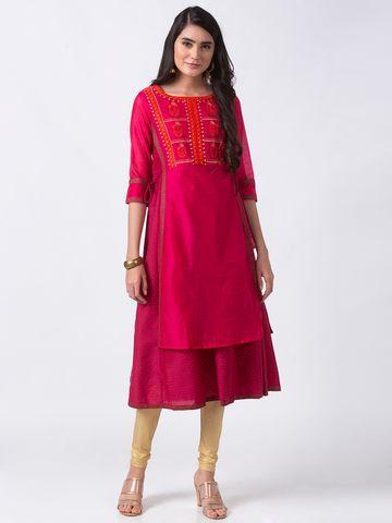 Ethnicity | Ethnicity Fuchsia Chanderi Women Kurta