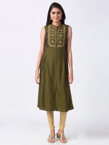 Ethnicity | Ethnicity Olive Poly Silk Women Kurta