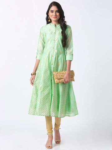 Ethnicity | Ethnicity Green Chanderi Women Kurta