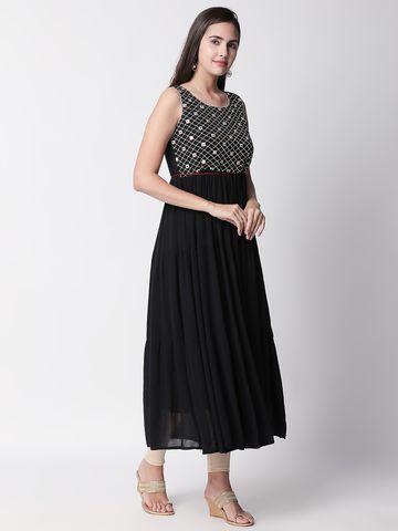 Ethnicity   Ethnicity Black Wrinkle Rayon Women Dress