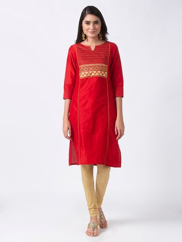 Ethnicity | Ethnicity Red Polyester Women Kurta