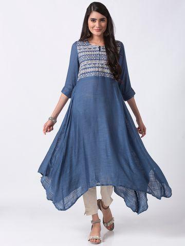 Ethnicity | Ethnicity Blue Rayon Women Kurta
