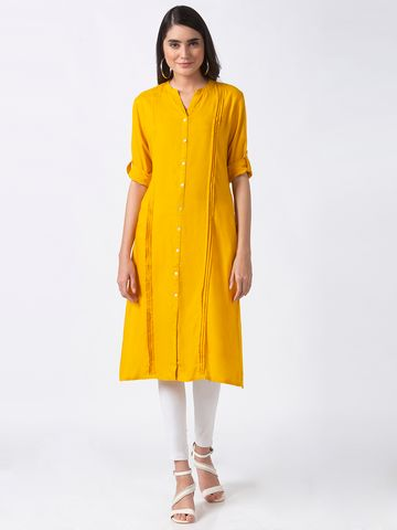 Ethnicity | Ethnicity Mustard Rayon Women Kurta