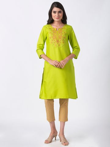 Ethnicity | Ethnicity Lime South Slub Women Kurta