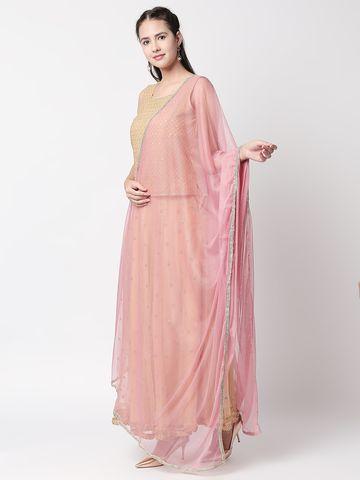 Ethnicity | Ethnicity Dust Pink Net Women Dupatta
