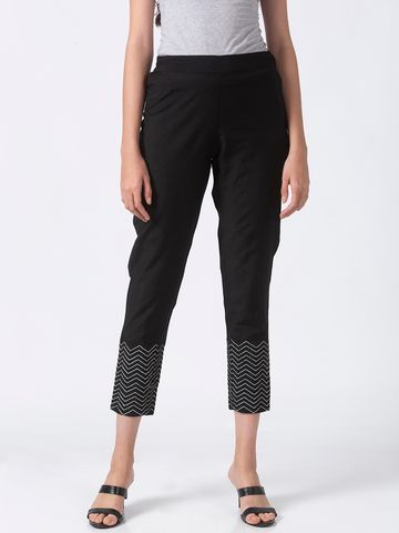 Ethnicity | Ethnicity Black Silk Blend Women Pants
