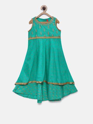 Ethnicity | Ethnicity Teal Polyester Blend Girls Dress