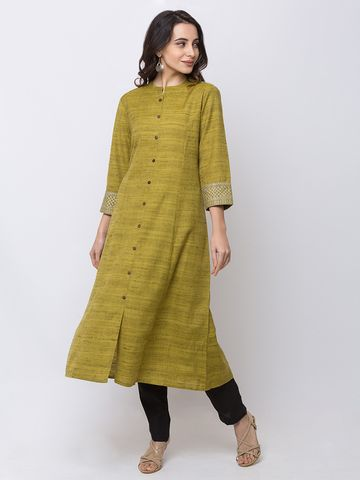 Ethnicity | Ethnicity Powerloom Straight Three-Fourth Women Green Kurta
